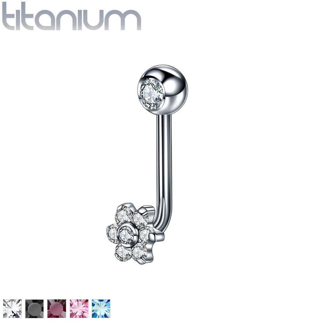 Internally Threaded Titanium Christina Piercing With Coloured Crystal