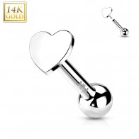 Solid Gold Push-Fit Cartilage Piercing with Flat Heart-sheaped Top