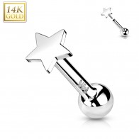 Solid Gold Push-Fit Cartilage Piercing with Flat Star-sheaped Top