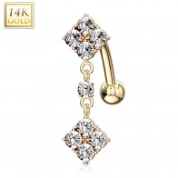 Solid gold reverse belly bar with square pendant