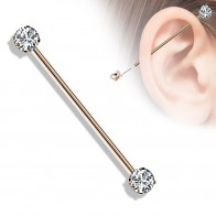 Steel Coloured Industrial Barbell with Front-Facing Gem Stone