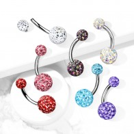 Internally Threaded Belly Bars with epoxy covered Crystal Balls