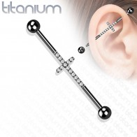 Titanium Industrial Barbell with Cross of Coloured Opal Stones
