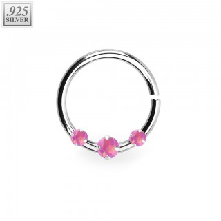 Piercing ring of .925 sterling silver with prong set opal stones