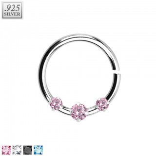 Piercing ring with 1 coloured and 2 clear prong set crystals