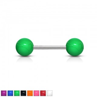 Solid coloured steel barbell piercing with acrylic top