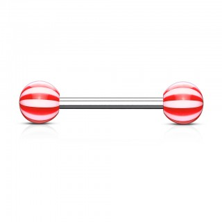 Candy style striped barbell piercings