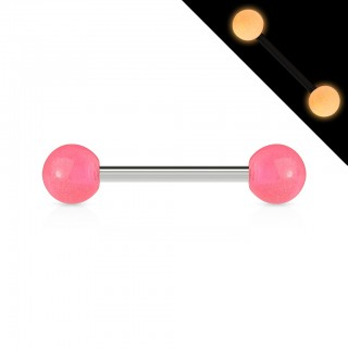 Glow in the dark steel shafted barbells