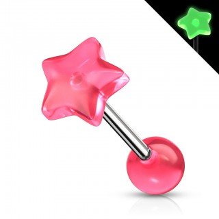 Star shaped glow in the dark tongue piercing