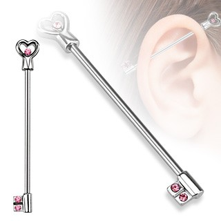 Industrial barbell with crystalised loveheart and key