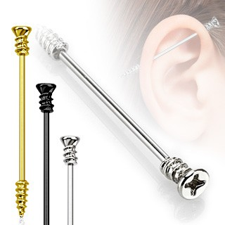 Coloured industrial piercing as screw