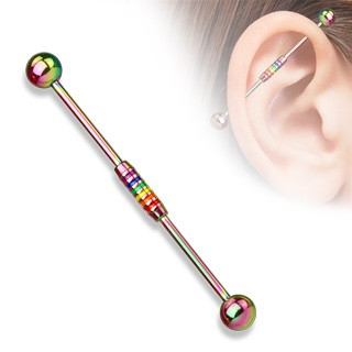 Coloured industrial barbell with rainbow striped centre
