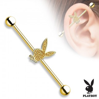 Industrial barbell piercing with glimmering Playboy bunny