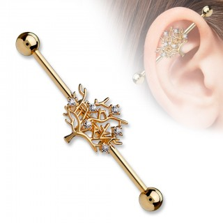 Norse Tree of Life industrial barbell piercing