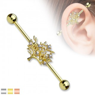 Industrial barbell with Tree of Life figure