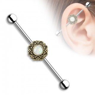 Classical industrial barbell with fig tree heart and glittering opal stones