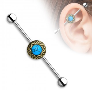 Classical industrial barbell with tribal stardust and turquoise precious gems