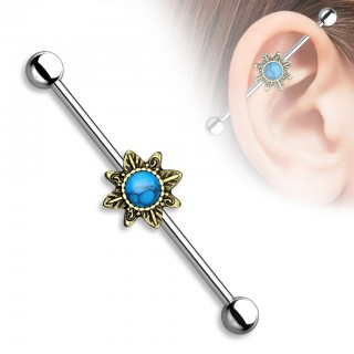 Classical industrial barbell with tribal sunburst and Turquoise precious gems