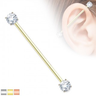 Coloured industrial barbell with clear prong set crystals