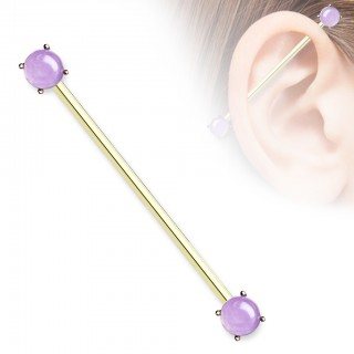 Coloured industrial barbell with prong set amethyst stone
