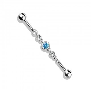 Coloured industrial barbell with three round crystals in chain
