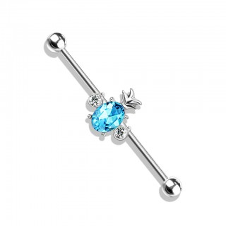 Coloured industrial barbell with crystal pineapple in centre