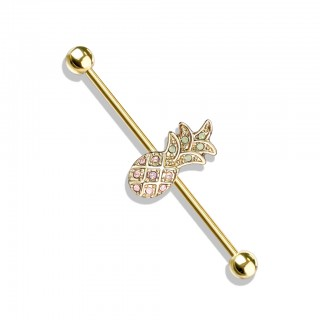 Gold industrial barbell with pineapple centre and opalite stones