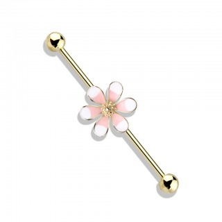Coloured industrial barbell with big two tone enamel flower