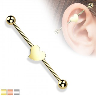 Steel Coloured Industrial Barbell with Heart figure