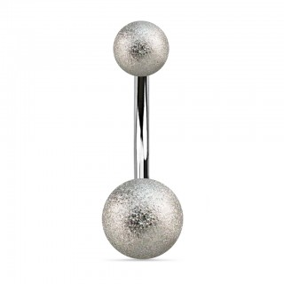 Belly button piercing with glittered silver balls