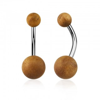Steel belly bar with teak wood balls