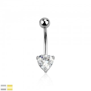 Coloured belly bar with prong set clear heart crystal