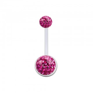 Bioflex belly button piercing with coloured ferido crystals