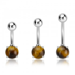Belly bar with 7 mm prong set tiger eye stone