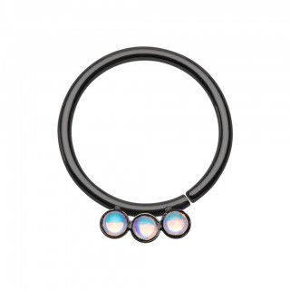 Coloured seamless ring with three white stones