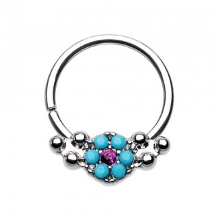 Coloured seamless ring with turquoise flower and fuchsia crystal
