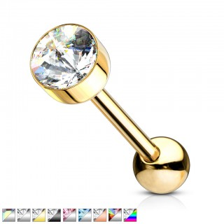 Coloured barbell with coloured back crystal in flat top