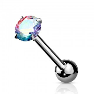 Coloured barbell with shiny prong set crystal