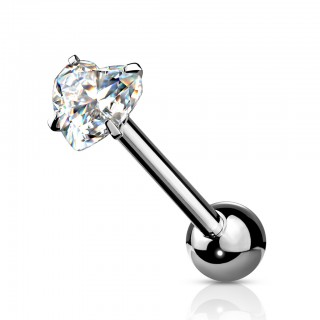 Coloured barbell with shiny prong set heart crystal
