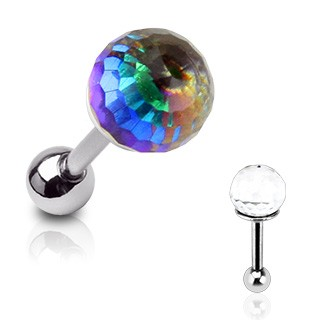 Barbell with clear crystal press fit ball