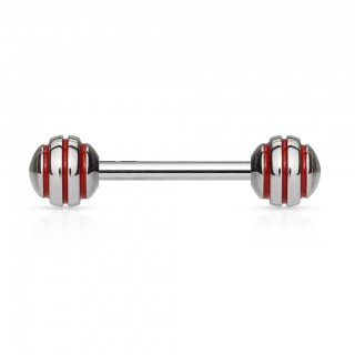 Surgical steel barbell piercing with epoxy lines