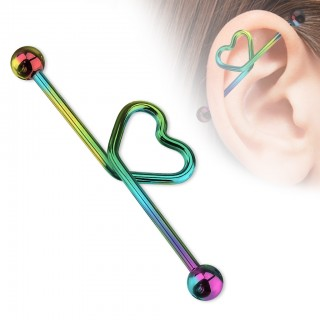 Heart decorated industrial barbell piercing with colour options