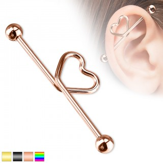 Coloured industrial piercing with heart