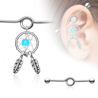 Industrial bar with dreamcatcher and two feathers