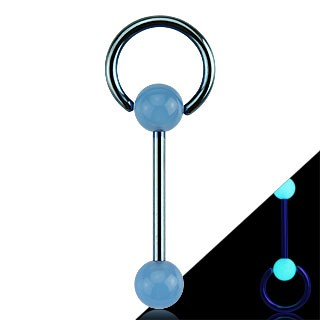 Barbell with glow in the dark balls and ring attachment