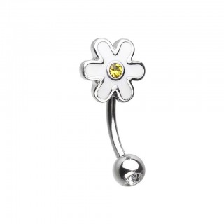 Coloured curved barbell with white daisy and yellow crystal