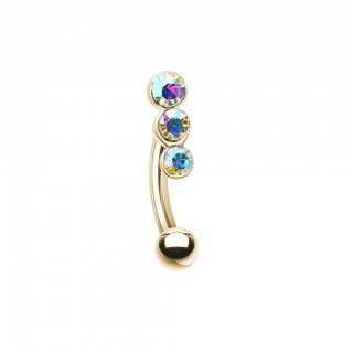 Coloured curved barbell with three coloured crystals