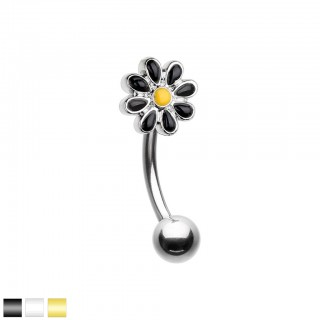 Silver curved barbell with coloured daisy flower top