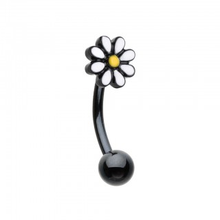 Black curved barbell with daisy flower top