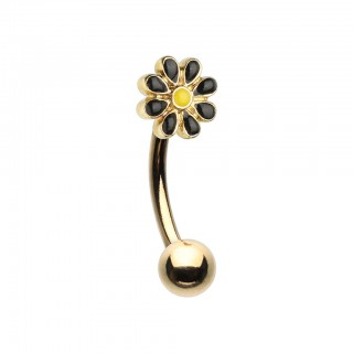Gold curved barbell with coloured daisy flower top